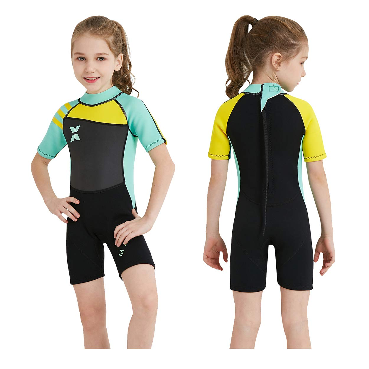 TOPDIVE Dive & SAIL Kids Wetsuit Shorty, 2.5mm Neoprene Thermal Swimsuit, Youth Boys and Girls Wet Suits for Snorkel Diving, Full Suit and Shorty Swimsuit (Green, Kids 2XL Size) by DIVE & SAIL