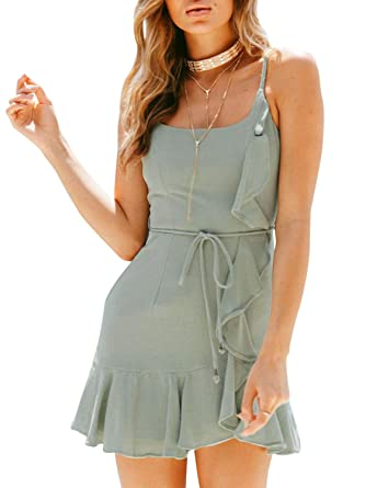 c59e5d74c10e Glamaker Women's Summer Spaghetti Strap Sleeveless Bodycon Ruffle Party Mini  Dress Tie Waist Green 8 /
