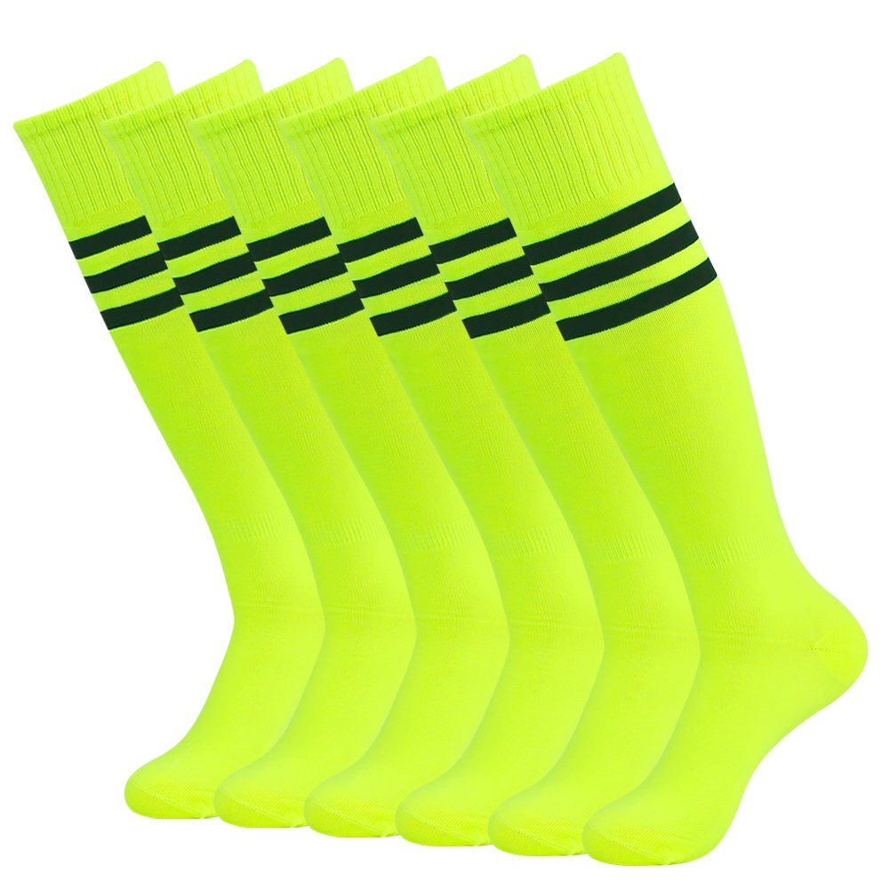 3street ユニセックス ニーハイ トリプルストライプ アスレチック サッカー チューブ ソックス 2 / 6 / 10組 B01GZWMA40 6-Pair Neo Yellow+Black Stripe 6-Pair Neo Yellow+Black Stripe