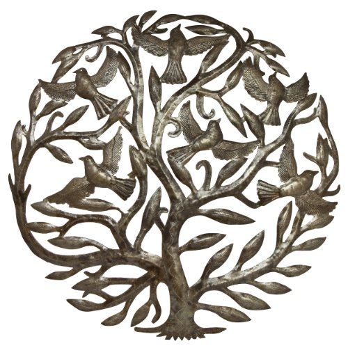 Global Crafts Steel Drum Art - 24 inch Tree of Life (Sculptures Tree Wall)