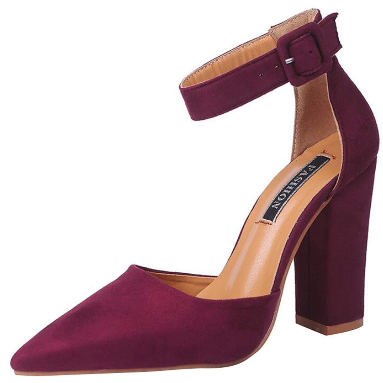 authentic best cheap authentic quality HhGold Women's Ankle-Strap Block-Heel Buckle Suede Court ...