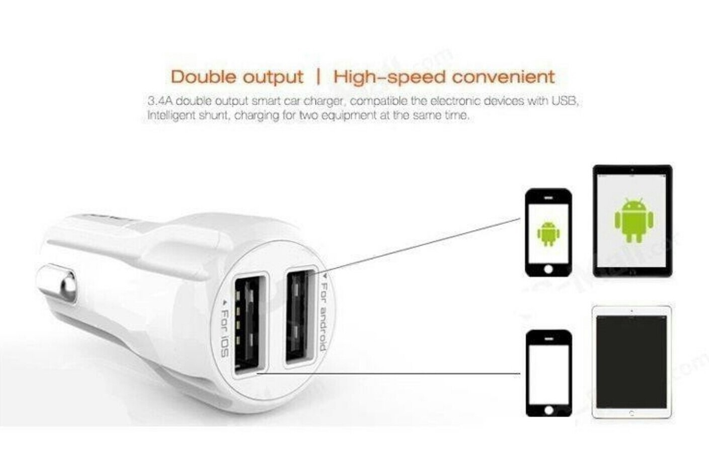 Ldnio Dual Usb 34a Smart Auto Id Fast Car Charger For Android Mobiles Samsung Htc Sony Lenovo Micromax Buy
