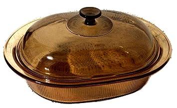 Rare -- Corning visión visiones 4L (4 qt.) ámbar cubierto Oval Roaster cacerola w/tapa: Amazon.es: Hogar