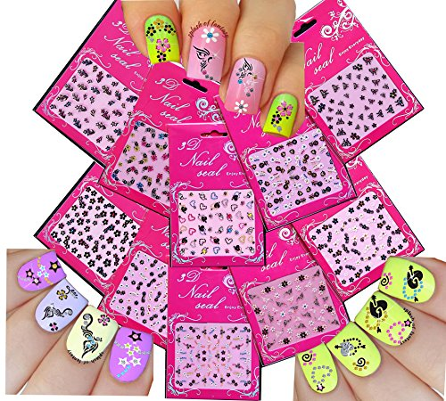 Adorable Nail Art 3D Stickers Decals With Rhinestones Variety Pack of 10 - Hearts  Flowers  Stars / FLIV /