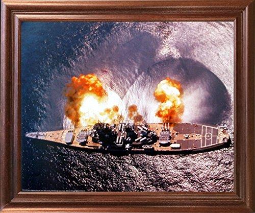 Impact Posters Gallery Framed Wall Decoration USS Missouri Battleship Firing Guns Military Navy Mahogany Framed Picture Art Print (18x22) - Missouri Art Glass Frame
