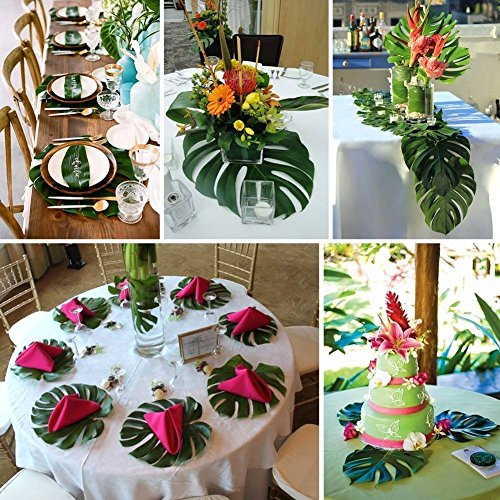 Artificial Monstera Leaves 48pcs-Large Tropical Leaves Decorations 14''x12'' Palm Tree Leaves for Luau Party Decor Jungle Party by PartyDelight (Image #4)