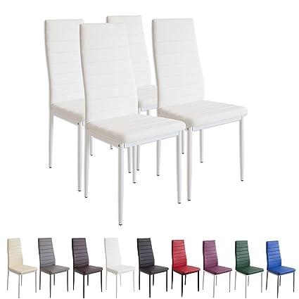 albatros 2552 Set di 4 sedie Milano, Bianco, finta pelle