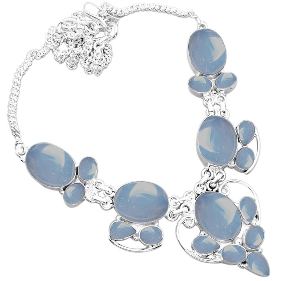 925 Silver Plated 55.50ctw Genuine Chalcedony Necklace