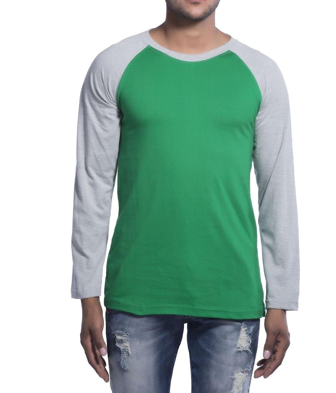 Clifton Mens Raglan Full Sleeve R-Neck T-Shirt-Dark Green/Grey Melange