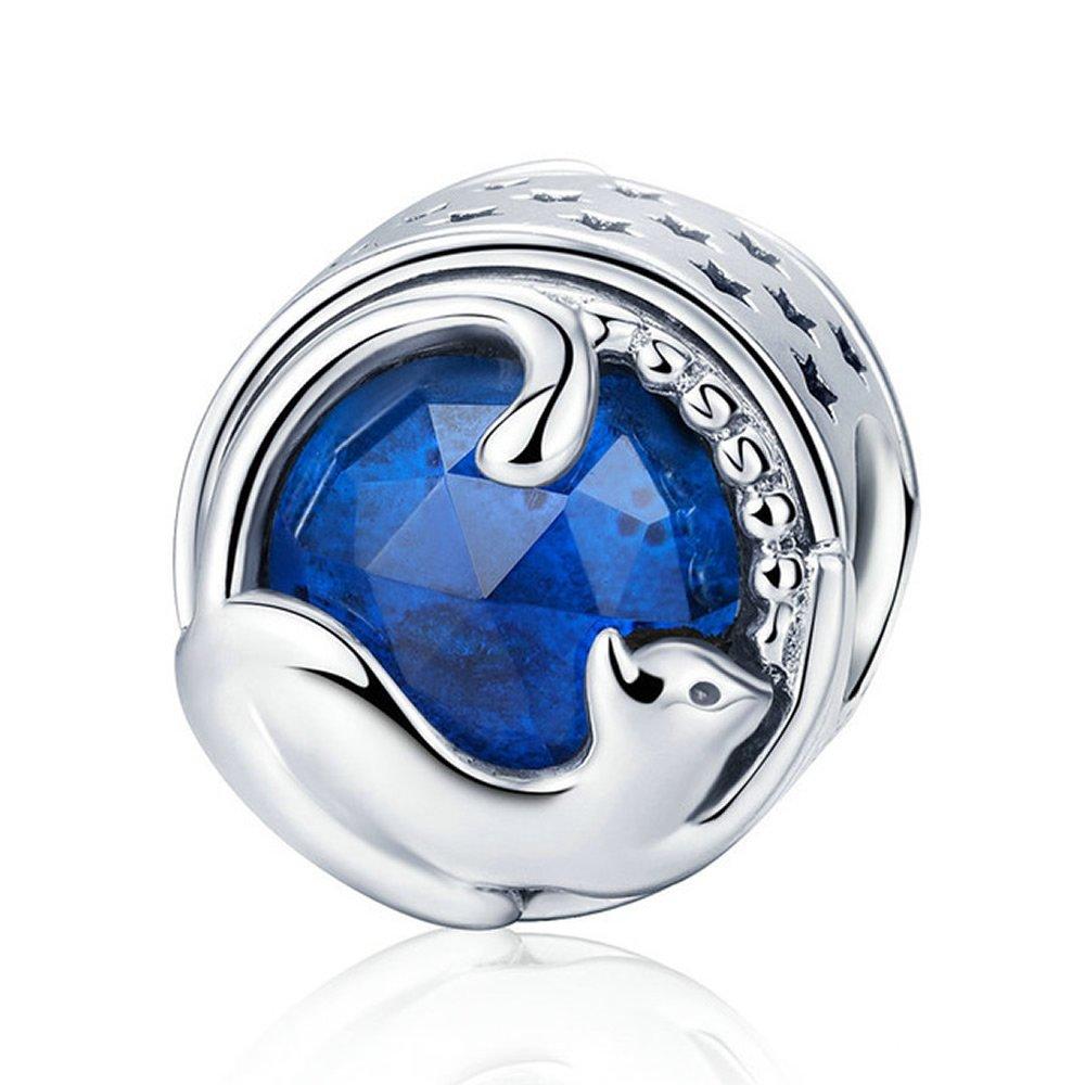 Chat Bleu 100% Argent sterling 925jouer Chaton Bleu CZ Charm perle pour bracelet à breloques et bracelets artisanale de bijoux EyeCandy UK