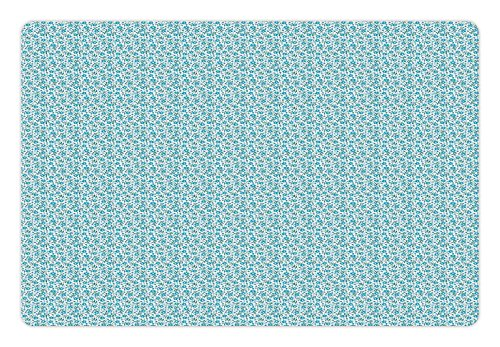 Lunarable Gardening Pet Mat for Food and Water, Blossoms of Blue Forget-Me-Not Flowers with Tiny Buds on Side, Rectangle Non-Slip Rubber Mat for Dogs and Cats, Pale Blue Teal Dark Magenta