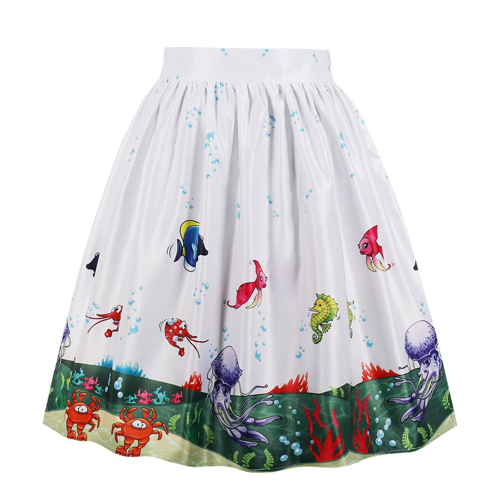 Cleaivy Women's Midi Pleated A Line Floral Printed Vintage Skirts (White Red Floral Pocket, 4XL)