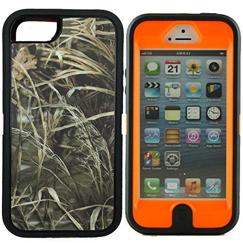 iPhone 5s Camo Case, Kecko 3 in 1 Defender Series Hunting Tree Camouflage Military Impact Resistant Full Body Armor Protective Case Cover Built-in Screen Protector iPhone SE / 5 - Orange