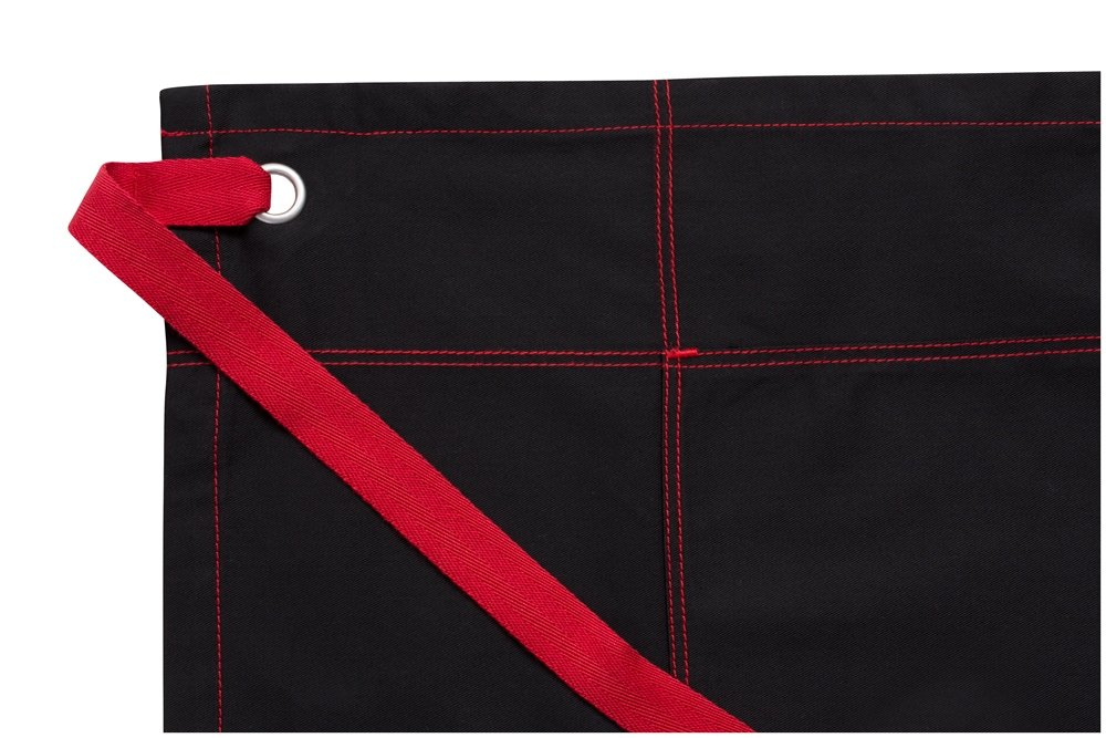 Black W//RedStitch Chef Works Unisex Wide Half Bistro Apron with Contrasting Ties One Size