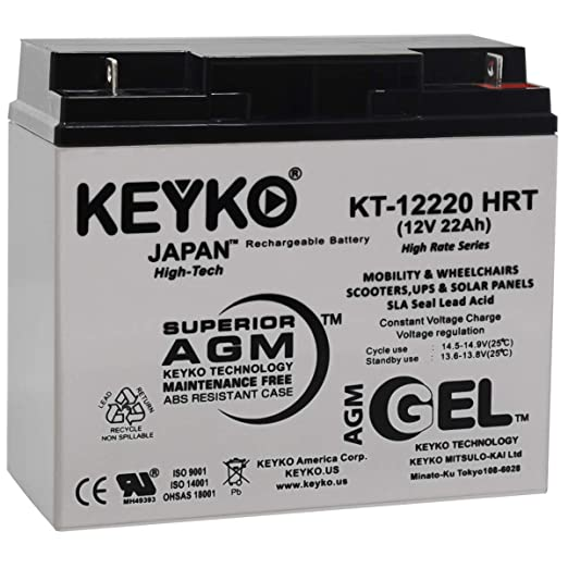 Schwinn X-Cel 12V 22Ah Battery - Fresh & Real 22Amp - Gel Deep Cycle  AGM/SLA Designed for Scooter - Genuine KEYKO KT-12220 HRT - Nut & Bolt L1