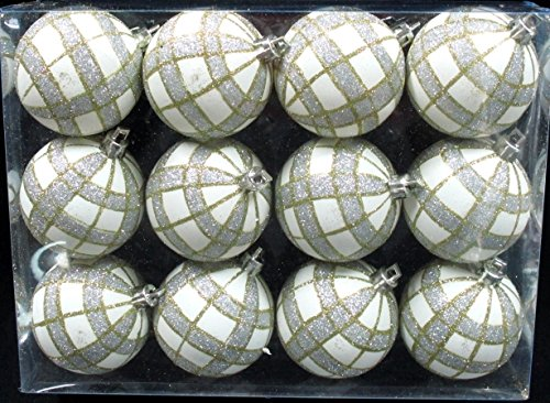 Queens of Christmas WL-ORN-12PK-PLD-GO 12 Pack Ball Ornament with Gold and Silver Plaid Design, White (Plaid Christmas Ornaments)