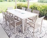 Exclusive 9pc Outdoor Aluminum Hand Painted Wood Look Patio Dining Set