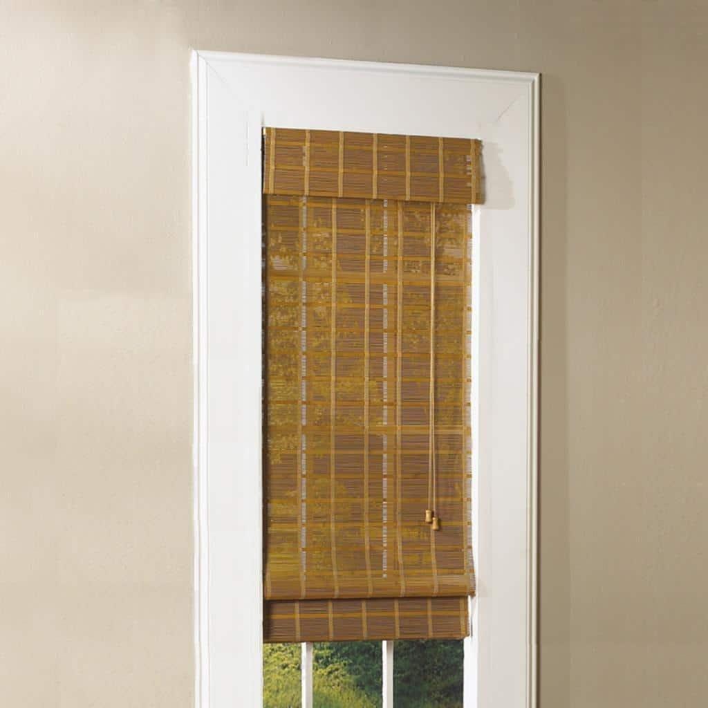 Lewis Hyman Bamboo Roman Shade with Valance, 60-Inch Wide by 48-Inch Long, Natural Monterrey, 0213770E