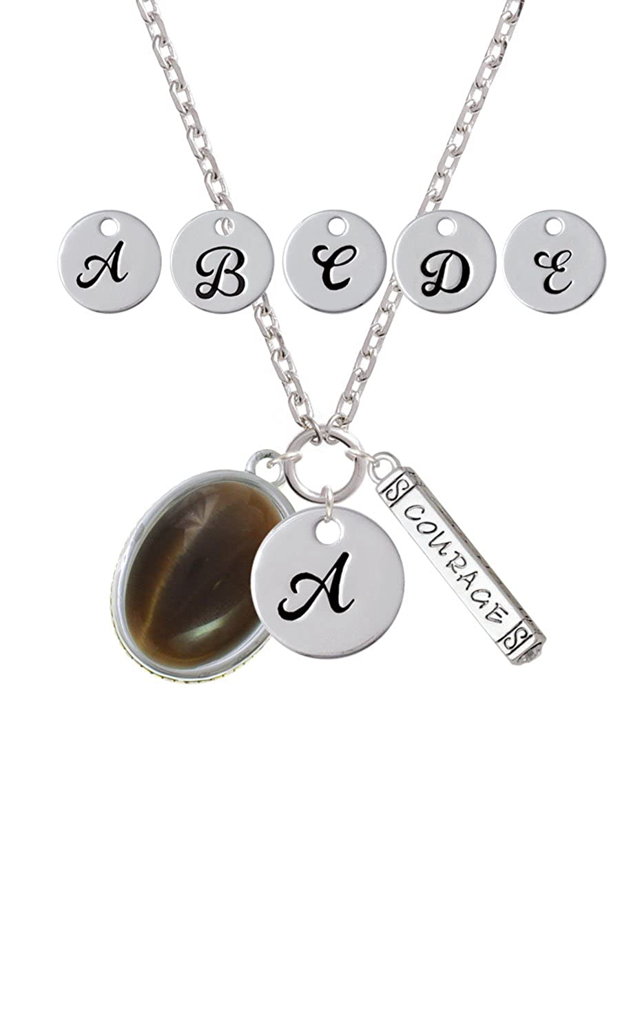 Custom Initial Courage Strength Zoe Necklace Oval Imitation Cats Eye Brown