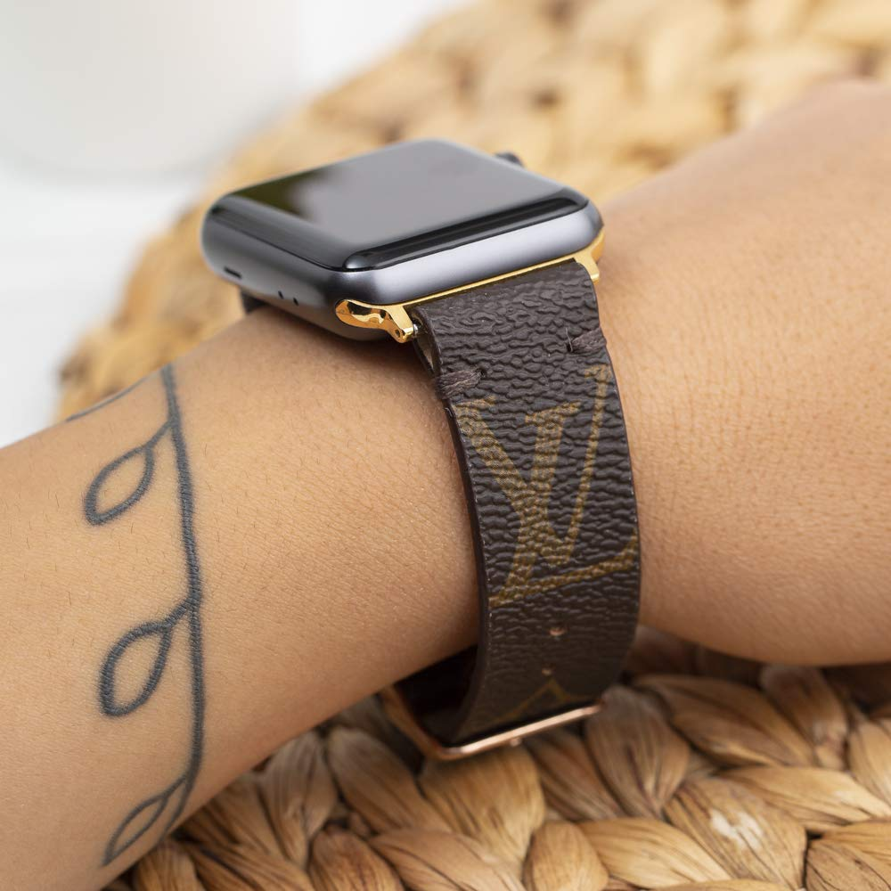 Amazon Com Handmade Apple Watch Band Re Purposed Classic Brown Monogram For Apple Watch Series 1 2 3 4 5 And 6 Handmade