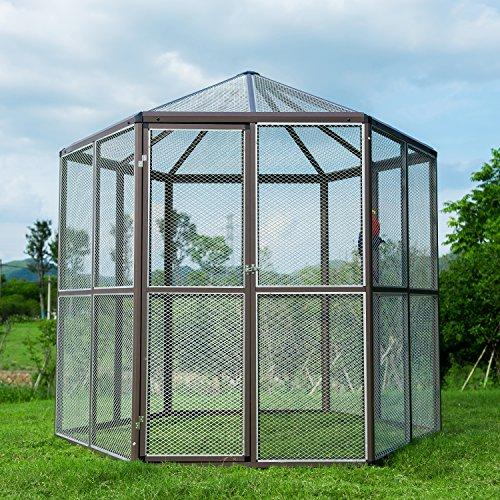 Hexagonal Aviary (Sliverylake Big Walk-in Bird Aviary Cage Parrot Macaw Reptile Hexagonal Design)