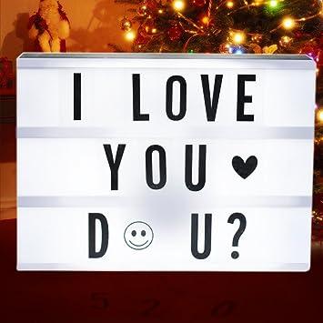 Caja de Luz Letras, tronisky Cine Lightbox A4 Caja de Luz de Cinematográfica de Combinación Libre con 191 Caracteres / Emojis, Regalo de Sorpresa y Decoración de Vacaciones Perfecto: Amazon.es: Electrónica