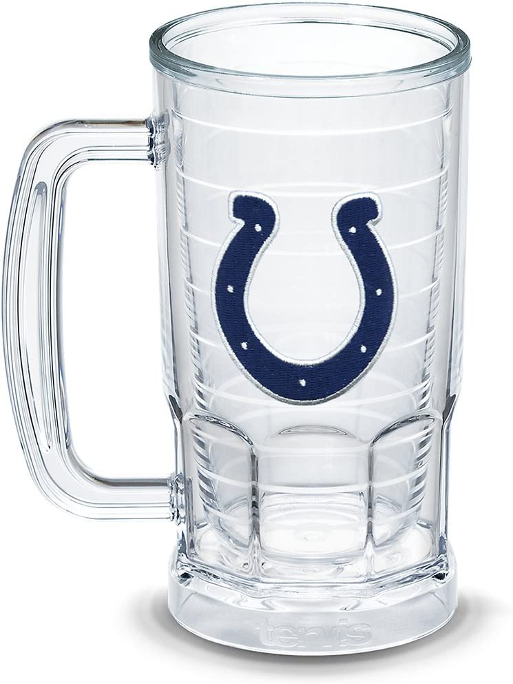 Tervis NFL Indianapolis Colts Primary Logo Insulated Tumbler with Emblem, 16oz Beer Mug, Clear