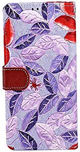 myLife Faux Leather Folio Wallet for Galaxy Note 4 by Samsung {Purple + Red Rose - Floral Card and Cash Holder Fold Design}
