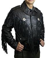 Men Genuine heavy Soft Leather Motorcycle Classic Jacket with Fringes Big Sizes