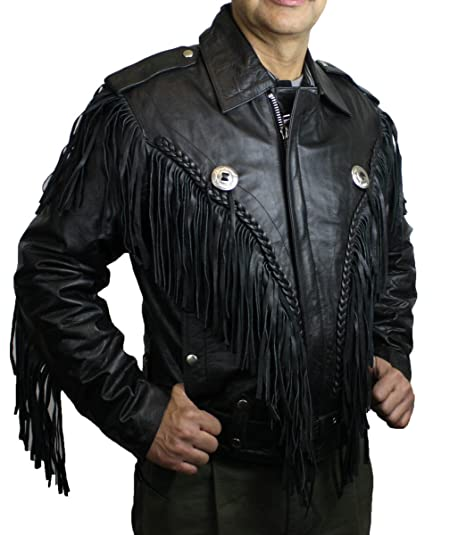 f116debe3 Men Genuine Heavy Soft Leather Motorcycle Classic Jacket with Fringes Big  Sizes