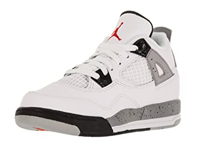 super popular 02d6a 3d613 Image Unavailable. Image not available for. Color  Jordan Retro 4   quot Cement quot  White Fire Red-Black-Metallic Silver
