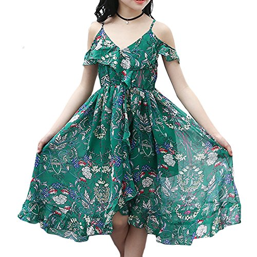 Price comparison product image Aulase Girls Chiffon Off-Shoulder Floral Sling Dress Bohemian Beach Sundress Green 11-12Y/Tag 160cm