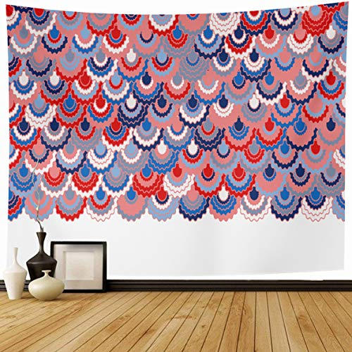 - Ahawoso Tapestry 80 x 60 Inches Pattern Blue Colors Festive American Ribbons Bunting Holidays Patriotic Pink Arc Badge Border Curve Home Decor Wall Hanging Print for Living Room Bedroom Dorm