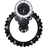 Jack Mall- Plastique ménages horloge murale tendance créative horloge simple électronique créative horloge murale engrenage horloge mécanique ( Couleur : Noir )