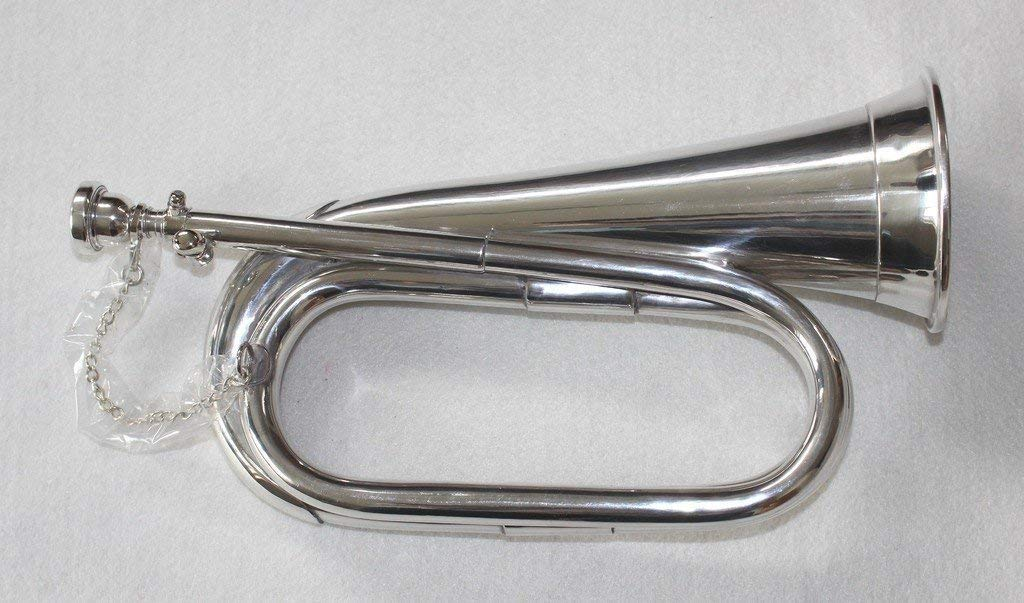 PURE NICKEL SILVER Army, Military Bugle With Free Hard Case + M/P NASIR ALI & CO