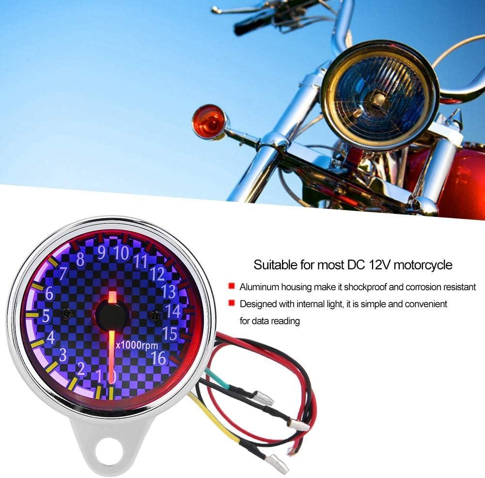Motorrad Drehzahlmesser LED Hintergrundbeleuchtung 0-16000 U//min Digitale Drehzahlmesser Drehzahlmesser Universal f/ür DC 12 V Motorrad