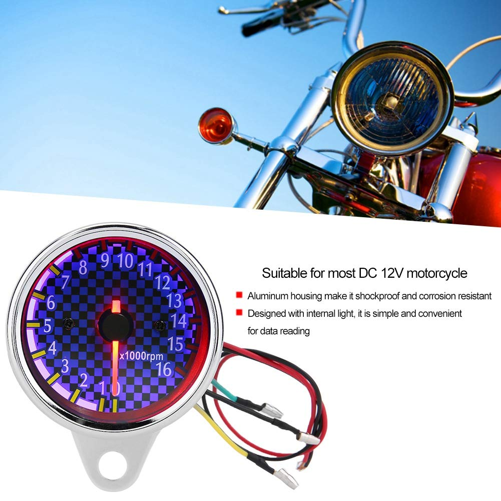 Opcional DC 12V Motocicleta universal Pantalla LED Tac/ómetro Medidor de tac/ómetro electr/ónico 16000 rpm Plata y azul Tac/ómetro Tbest