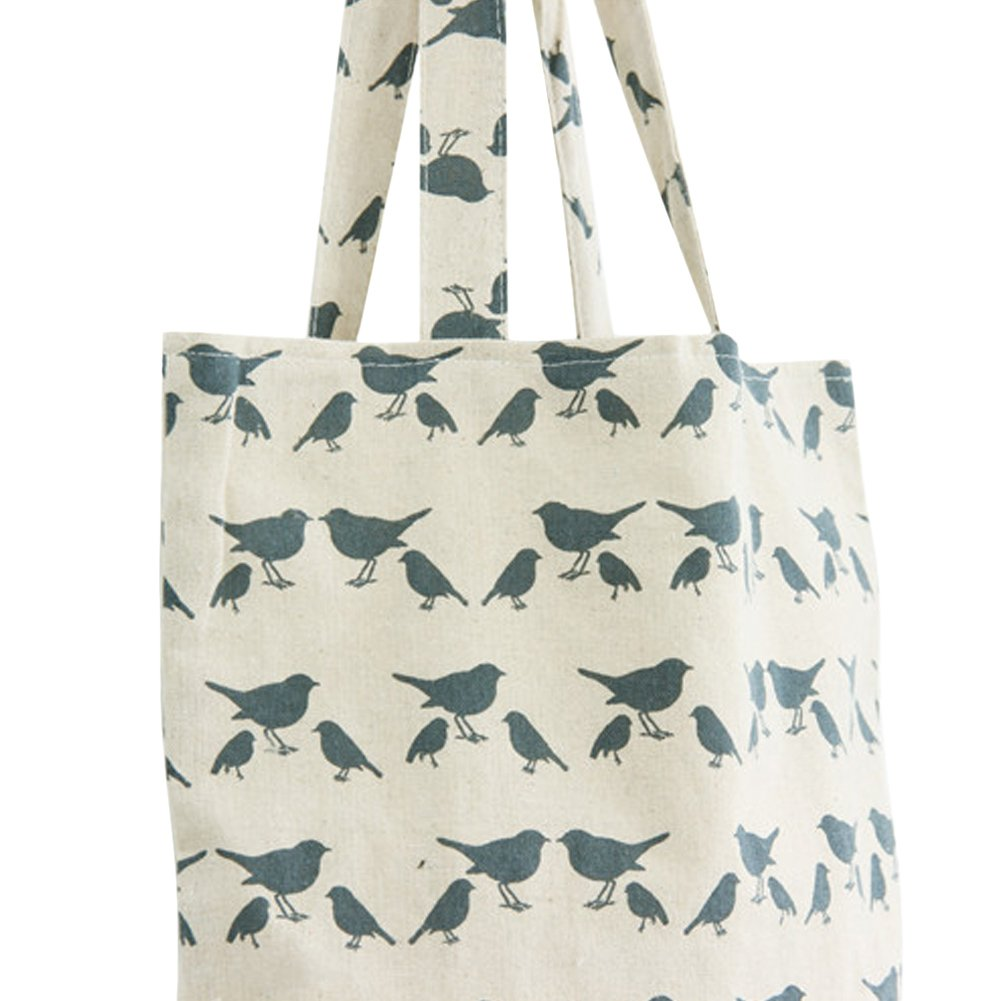 Nuni Womens Pigeon Bird Print Cotton Canvas Tote Bag