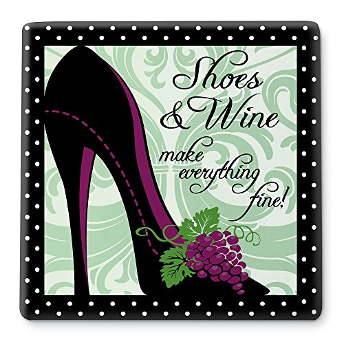 Epic Products Shoes and Wine Ceramic Trivet, Multicolor
