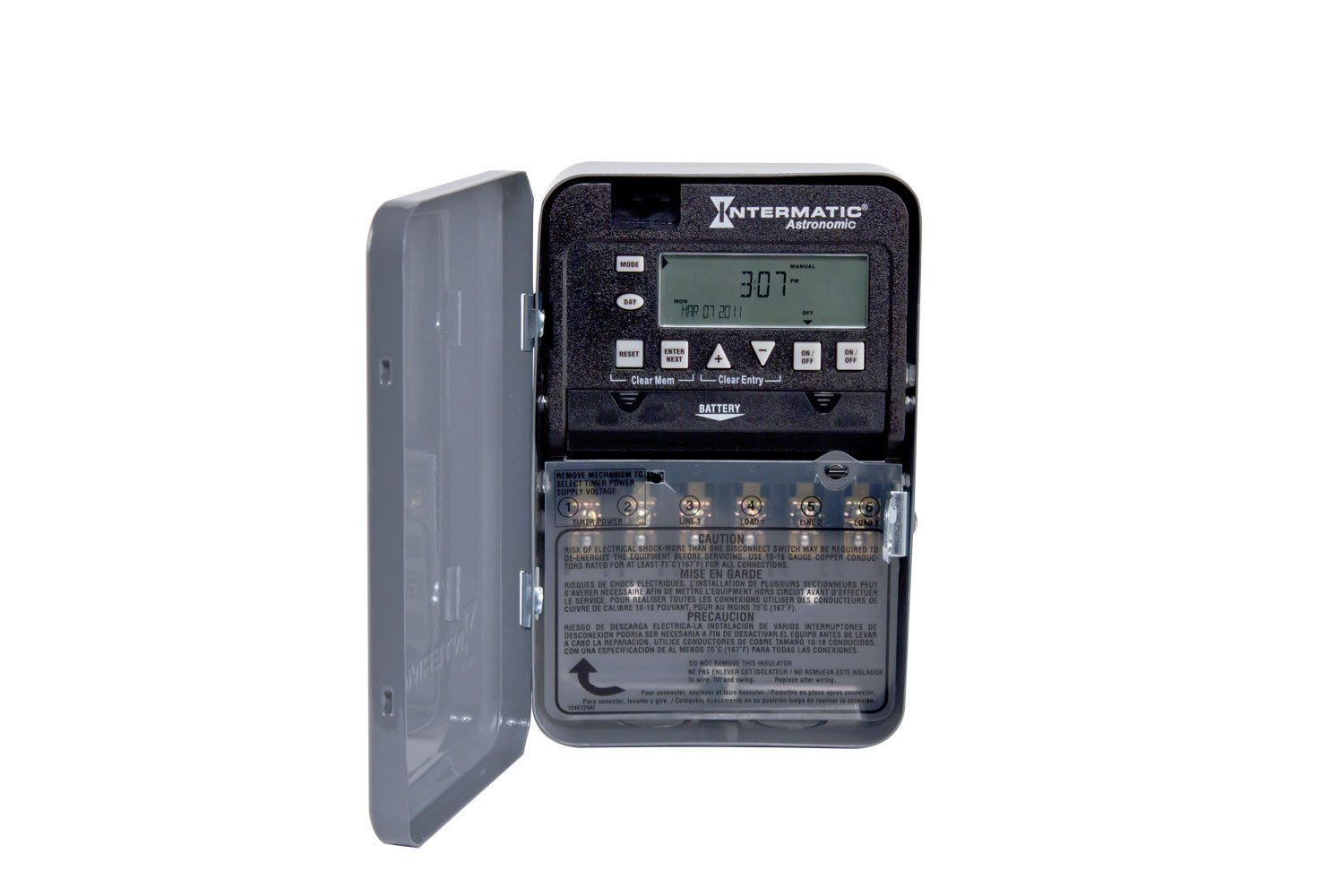 Intermatic ET8215C 7-Day 30-Amps 2XSPST OR DPST Electronic Astronomic Time Switch, Clock Voltage 120-Volt - 277-Volt NEMA 1 by Intermatic