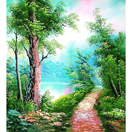 DIY Oil Painting, Paint by Number Kit for Home Wall Decor Art Gift, Riverside Tranquil Trails