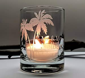 Palm Tree Personalized Wedding Favors Beach Reception Decor 36 pcs Engraved Glass Votive Holders Custom Party Memento Guest Keepsake