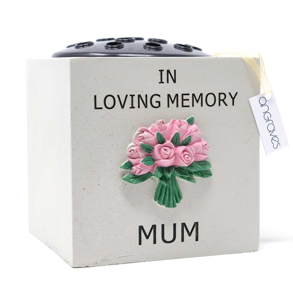 Angraves Special Mum Pink Flower Bouquet Graveside Memorial Pot