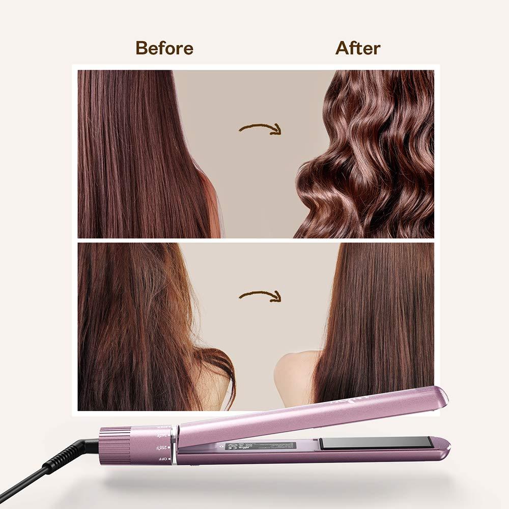 Profesional plancha para el pelo, Anjou plancha turmalina y cerámica, 2 en 1 alisarlo & para todos los tipos de cabello con giratorios ajustable Temperatura ...