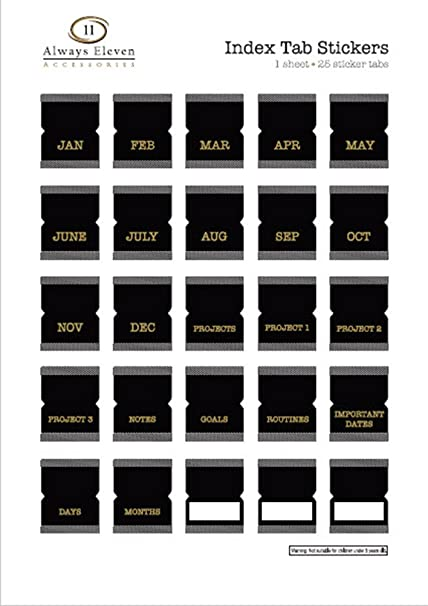 amazon com index tab monthly calendar stickers for planners