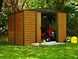 Arrow Shed ED1012 Euro Dallas 10x12 Steel Storage Shed - Woodgrain & Coffee