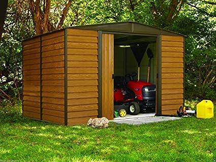 Arrow Shed ED1012 Euro Dallas 10x12 Steel Storage Shed   Woodgrain U0026 Coffee