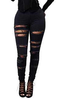 b267f47ba2 Suvotimo Les Femmes Taille Haute, des Pantalons Jeans Pantalon Déchiré  Maigre Occasionnels À Long