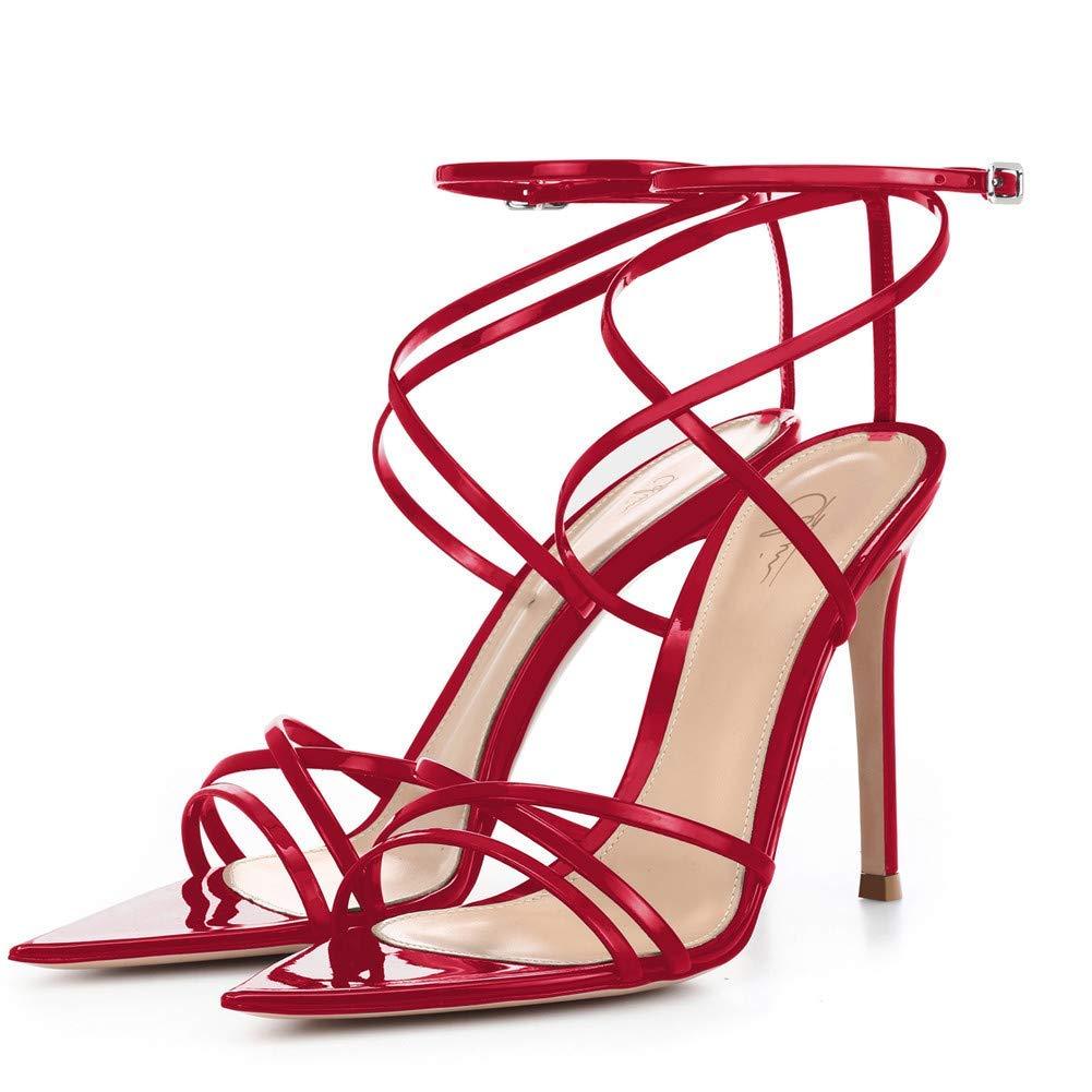 2b9937d200bae Women Ankle Strap Stilettos High Heels Criss Cross Sandals Open Toe Bridal  Wedding Evening Dress Casual Party Shoes