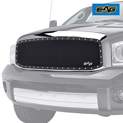 EAG Rivet Black SS Wire Mesh Grill With Chrome Shell Grille for 06-08 Dodge  Ram 1500